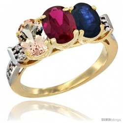 10K Yellow Gold Natural Morganite, Ruby & Blue Sapphire Ring 3-Stone Oval 7x5 mm Diamond Accent