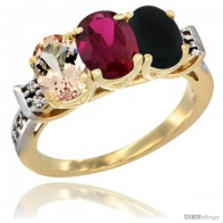 10K Yellow Gold Natural Morganite, Ruby & Black Onyx Ring 3-Stone Oval 7x5 mm Diamond Accent