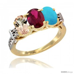 10K Yellow Gold Natural Morganite, Ruby & Turquoise Ring 3-Stone Oval 7x5 mm Diamond Accent