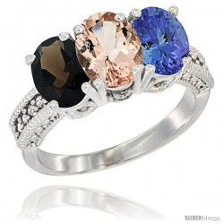 14K White Gold Natural Smoky Topaz, Morganite & Tanzanite Ring 3-Stone 7x5 mm Oval Diamond Accent