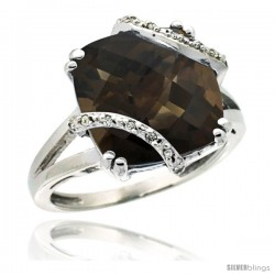 14k White Gold Diamond Smoky Topaz Ring 7.5 ct Cushion Cut 12 mm Stone, 1/2 in wide