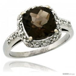 14k White Gold Diamond Smoky Topaz Ring 2.08 ct Cushion cut 8 mm Stone 1/2 in wide
