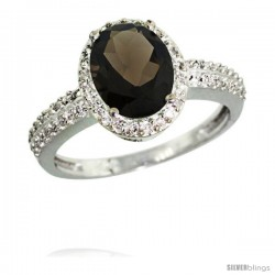 14k White Gold Diamond Smoky Topaz Ring Oval Stone 9x7 mm 1.76 ct 1/2 in wide