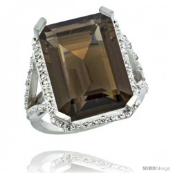 14k White Gold Diamond Smoky Topaz Ring 14.96 ct Emerald shape 18x13 Stone 13/16 in wide