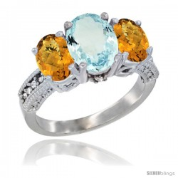 14K White Gold Ladies 3-Stone Oval Natural Aquamarine Ring with Whisky Quartz Sides Diamond Accent