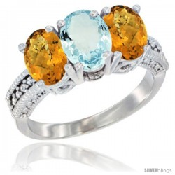 14K White Gold Natural Aquamarine Ring with Whisky Quartz 3-Stone 7x5 mm Oval Diamond Accent