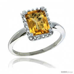 14k White Gold Diamond Whisky Quartz Ring 1.6 ct Emerald Shape 8x6 mm, 1/2 in wide