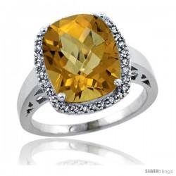 14k White Gold Diamond Whisky Quartz Ring 5.17 ct Checkerboard Cut Cushion 12x10 mm, 1/2 in wide