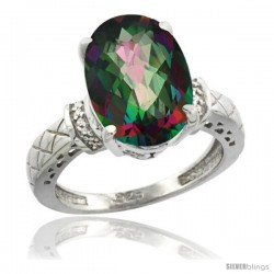 Sterling Silver Diamond Mystic Topaz Ring 5.5 ct Oval 14x10 Stone