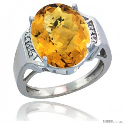 14k White Gold Diamond Whisky Quartz Ring 9.7 ct Large Oval Stone 16x12 mm, 5/8 in wide