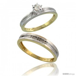 10k Yellow Gold 2-Piece Diamond wedding Engagement Ring Set for Him & Her, 3.5mm & 4mm wide -Style Ljy119em