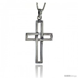 Sterling Silver Cross Cut-out Pendant, 2 in tall