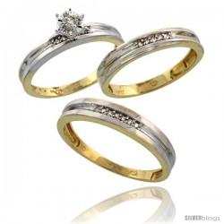 10k Yellow Gold Diamond Trio Wedding Ring Set His 4mm & Hers 3.5mm -Style Ljy119w3