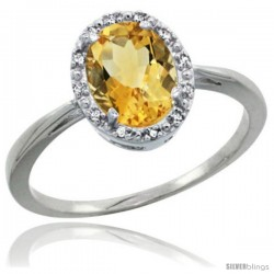 Sterling Silver Natural Citrine Diamond Halo Ring 1.17 Carat 8X6 mm Oval Shape, 1/2 in wide