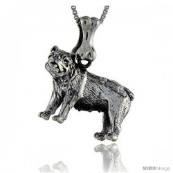 Sterling Silver Bulldog Dog Pendant