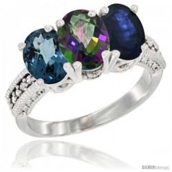 10K White Gold Natural London Blue Topaz, Mystic Topaz & Blue Sapphire Ring 3-Stone Oval 7x5 mm Diamond Accent