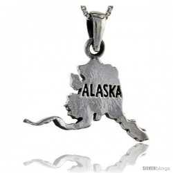 Sterling Silver Alaska State Map Pendant, 1 1/4 in tall