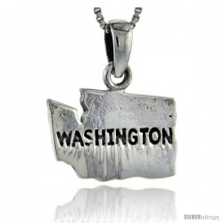 Sterling Silver Washington State Map Pendant, 7/8 in tall