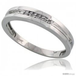 Sterling Silver Men's Diamond Band, w/ 0.04 Carat Brilliant Cut Diamonds, 5/32 in. (4mm) wide