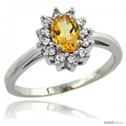 Sterling Silver Natural Citrine Diamond Halo Ring Oval Shape 1.2 Carat 6X4 mm, 1/2 in wide