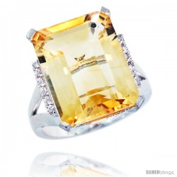 10k White Gold Diamond Citrine Ring 12 ct Emerald Cut 16x12 stone 3/4 in wide