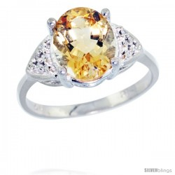 10k White Gold Diamond Citrine Ring 2.40 ct Oval 10x8 Stone 3/8 in wide