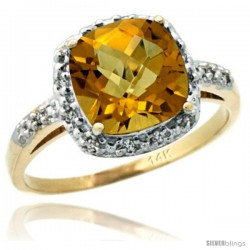 14k Yellow Gold Diamond Whisky Quartz Ring 2.08 ct Cushion cut 8 mm Stone 1/2 in wide