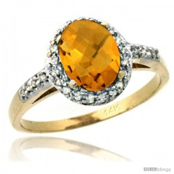 14k Yellow Gold Diamond Whisky Quartz Ring Oval Stone 8x6 mm 1.17 ct 3/8 in wide