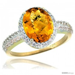 14k Yellow Gold Diamond Whisky Quartz Ring Oval Stone 10x8 mm 2.4 ct 1/2 in wide
