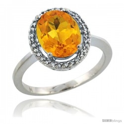 Sterling Silver Diamond Halo Natural Citrine Ring 2.4 carat Oval shape 10X8 mm, 1/2 in (12.5mm) wide