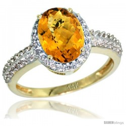 14k Yellow Gold Diamond Whisky Quartz Ring Oval Stone 9x7 mm 1.76 ct 1/2 in wide
