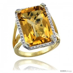 14k Yellow Gold Diamond Whisky Quartz Ring 14.96 ct Emerald shape 18x13 Stone 13/16 in wide