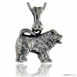 Sterling Silver Chow Chow Dog Pendant