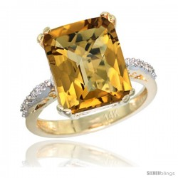 14k Yellow Gold Diamond Whisky Quartz Ring 5.83 ct Emerald Shape 12x10 Stone 1/2 in wide
