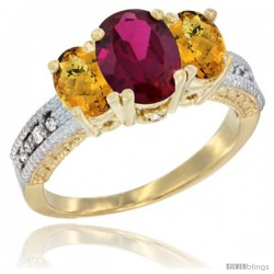 14k Yellow Gold Ladies Oval Natural Ruby 3-Stone Ring with Whisky Quartz Sides Diamond Accent