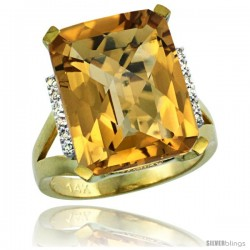 14k Yellow Gold Diamond Whisky Quartz Ring 12 ct Emerald Cut 16x12 stone 3/4 in wide