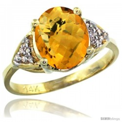 14k Yellow Gold Diamond Amethyst Ring 2.40 ct Oval 10x8 Stone 3/8 in wide -Style Cy426144