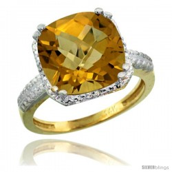 14k Yellow Gold Diamond Whisky Quartz Ring 5.94 ct Checkerboard Cushion 11 mm Stone 1/2 in wide