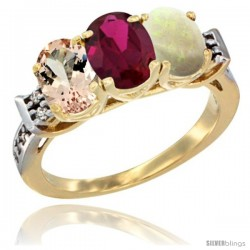 10K Yellow Gold Natural Morganite, Ruby & Opal Ring 3-Stone Oval 7x5 mm Diamond Accent