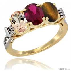 10K Yellow Gold Natural Morganite, Ruby & Tiger Eye Ring 3-Stone Oval 7x5 mm Diamond Accent