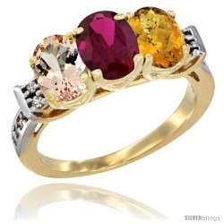 10K Yellow Gold Natural Morganite, Ruby & Whisky Quartz Ring 3-Stone Oval 7x5 mm Diamond Accent