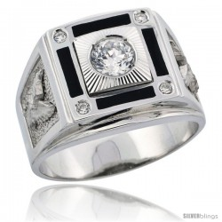 Sterling Silver Men's American Eagle Solitaire Ring Brilliant Cut CZ Stones, 5/8 in (16 mm) wide