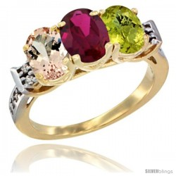 10K Yellow Gold Natural Morganite, Ruby & Lemon Quartz Ring 3-Stone Oval 7x5 mm Diamond Accent