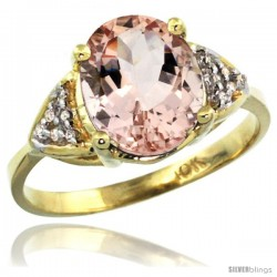 10k Yellow Gold Diamond Morganite Ring 2.40 ct Oval 10x8 Stone 3/8 in wide