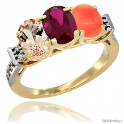10K Yellow Gold Natural Morganite, Ruby & Coral Ring 3-Stone Oval 7x5 mm Diamond Accent