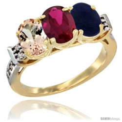 10K Yellow Gold Natural Morganite, Ruby & Lapis Ring 3-Stone Oval 7x5 mm Diamond Accent