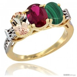 10K Yellow Gold Natural Morganite, Ruby & Malachite Ring 3-Stone Oval 7x5 mm Diamond Accent