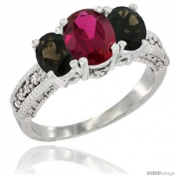 14k White Gold Ladies Oval Natural Ruby 3-Stone Ring with Smoky Topaz Sides Diamond Accent