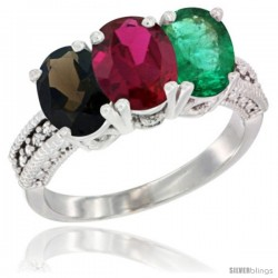 14K White Gold Natural Smoky Topaz, Ruby & Emerald Ring 3-Stone 7x5 mm Oval Diamond Accent