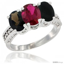14K White Gold Natural Smoky Topaz, Ruby & Black Onyx Ring 3-Stone 7x5 mm Oval Diamond Accent